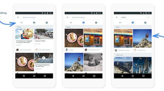 Mittels der Suchfunktion lassen sich in Spaces gesuchte Inhalte schnell wieder finden. (Screenshot: Google / Alphabet)