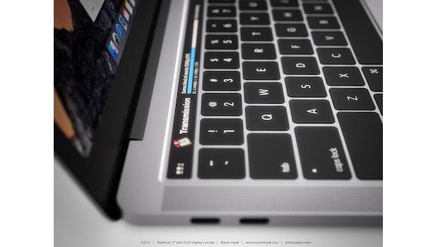 "MacBook Pro (2016) Konzept. (Bild: <a href=""http://www.martinhajek.com/macbook-meets-oled/"">Martin Hajek</a>)"