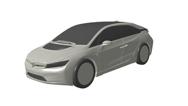 Der kommende BMW i5 als CAD-Skizze. (Bild: Patentamt via Auto Motor-Sport)