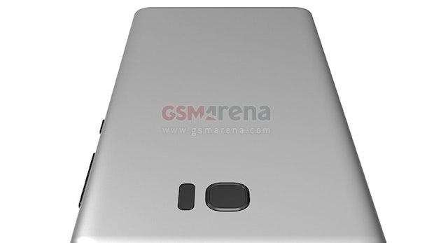 """Ein weiterer Case-Leak soll das nahezu randlose Samsung Galaxy S8 zeigen –der Blitz sitzt dort wo er sollte. (Bild: <a href=""""http://www.gsmarena.com/exclusive_3d_renders_of_the_samsung_galaxy_s8_sent_to_us_by_a_case_maker-blog-22732.php"""">GSM Arena</a>)"""
