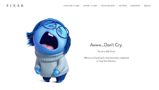 "Pixar schickt eine Figur aus seinen legendären Animiationsfilmen ins Nirvana. (Screenshot: <a href=""https://www.pixar.com/404"">pixar.com</a>)"