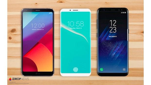 """Konzept: So sieht vielleicht das iPhone 8 aus – im Vergleich mit dem Galaxy S8 und LG G6.(Bild: <a href=""""https://www.idropnews.com/rumors/report-confirms-5-8-oled-display-destined-iphone-8/33447/"""">Benjamin Geskin; iDropnews</a>)"""