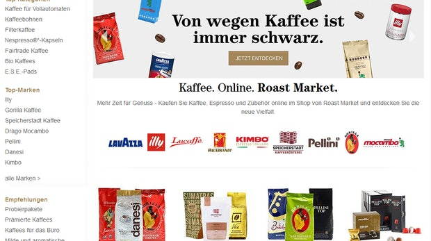 Startseite Roast Market (Screenshot: Roast Market)