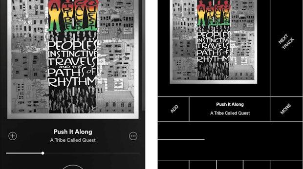 "Spotify. (Screenshot: © <a href=""http://www.pierrebuttin.com/work/brutalist-redesigns/"">Pierre Buttin</a>)"